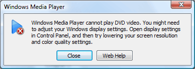 windows media player cannot play dvd video