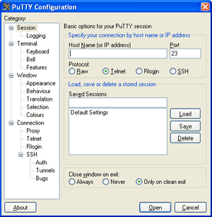 Screenshot of the PuTTY Configuration Window